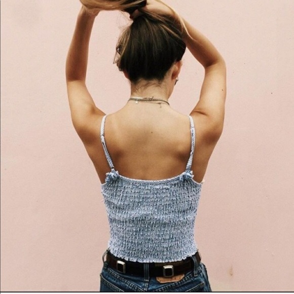 Brandy Melville Tops - NWT Brandy Melville Blue Izzy tank smocked Sticker